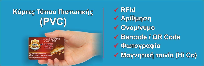 Κάρτες τύπου πιστωτικής PVC
