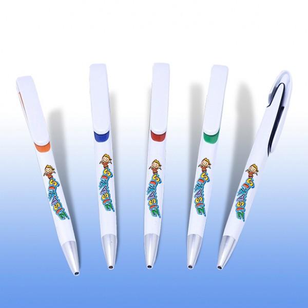 Στυλό λευκό οβάλ καπάκι και έγχρωμη εκτύπωση